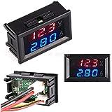 CALISTOUK DC 0-100V 10A LED rojo azul doble pantalla digital amperímetro de voltaje para uso doméstico, rojo + azul y 10…