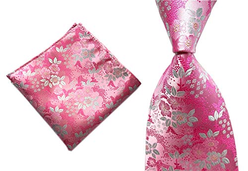(Men's Boys Pink White Tie Summer Floral Party Wedding Woven Silk Paisley)