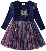 DXTON Toddler Flower Girl Dress Winter Long Sleeve Tutu Dresses for Girls 3-8 Years