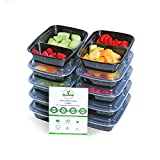 Meal Prep Containers with Lids, Portion Control Lunch Box, Certified BPA-Free, Stackable, Reusable, Microwave, Dishwasher & Freezer Safe, 32 Ounce, 2 Compartment (10)