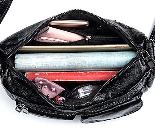 monedero PU bolsa Crossbody la diario negro Negro cuero mujeres bolso de de UTO SZWz5n
