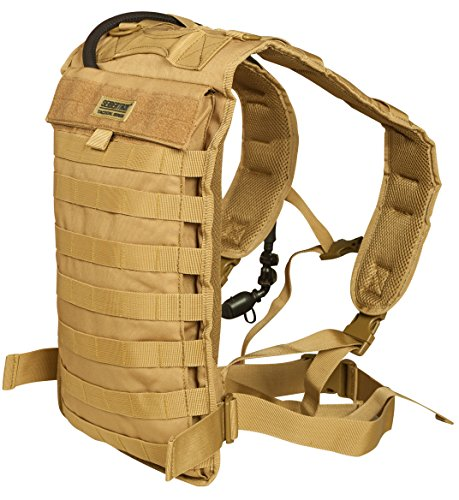 Seibertron Tactical Molle Hydration Carrier Pack Backpack Great for Outdoor Sports of Running Hiking Camping Cycling Motorcycle Fit for Seibertron 2L or 2.5L water bladder(not included) Khaki ()