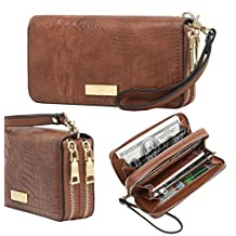 Aitbags Women's Double Zip Around Special Grain Leather Wallet Clutch with Wristlet and Hand Strap