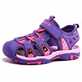 BODATU Girls' Summer Outdoor Beach Sports Closed-Toe Sandals(Toddler/Little Kid/Big Kid)(23, Purple)