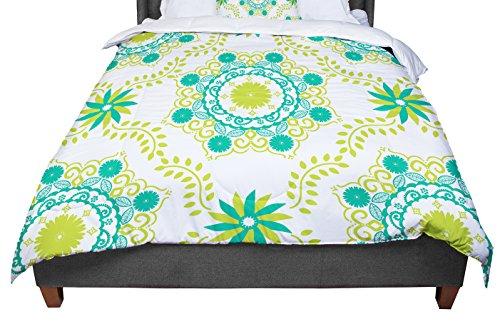 KESS InHouse Anneline Sophia ''Let's Dance Green'' Teal Floral Queen Comforter, 88'' X 88'' by Kess InHouse