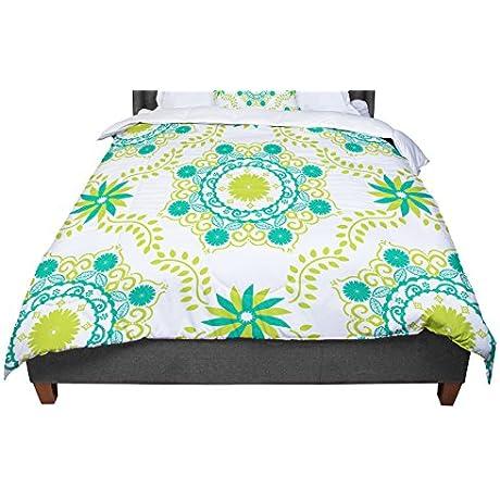 KESS InHouse Anneline Sophia Let S Dance Green Teal Floral Queen Comforter 88 X 88