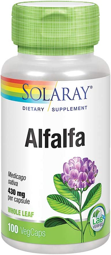Solaray Alfalfa Leaf 430mg | Vitamin-Rich Superfood w/Fiber & Chlorophyll | Healthy Blood, Kidneys & Digestion Support | Non-GMO, Vegan | 100 VegCaps: Health & Personal Care