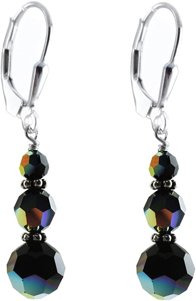 Aurora Borealis sparkly Chandelier Earrings with Sterling Silver lever backs Boho Chic earrings