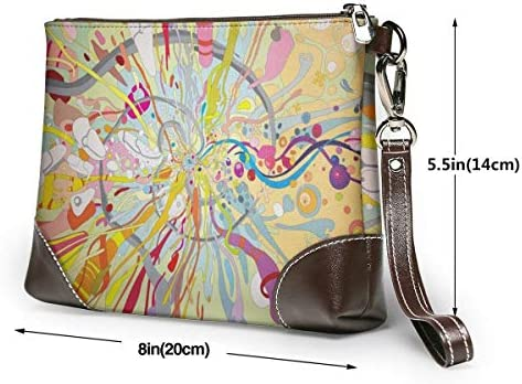GLGFashion Pochette en cuir Sac à main Bourse Women's Leather Wristlet Clutch Wallet Multicolored Art Storage Purse With Strap Zipper Pouch