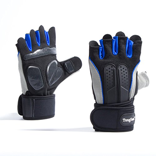 TungSam Weight Lifting Gloves with Built-in Wrist Wraps,Great for Pull Ups, Cross Training, Fitness, WODs & Workout. Suits Men & Women (Large)