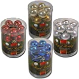 Solid Colored Shatterproof 20pk 30mm Christmas Balls in PVC Canister (Gold)