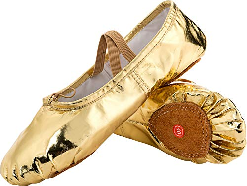 (JOINFREE Girl's Women's Leather Ballet Flats Slippers Dancing Shoes with No-Slip Soles Gold 7.5 B(M) US)