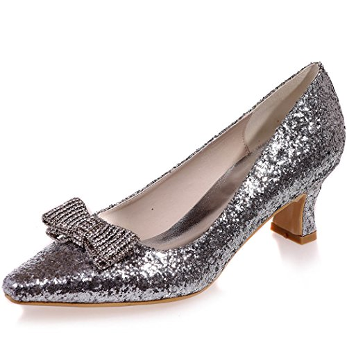 Clearbridal Women's Sliver Sequines Wedding Bridal Shoes Pointed Toe Low Heels for Evening Prom with Bows ZXF0723-10A Sliver