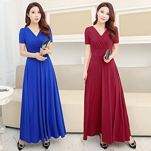V Wine Haute Grand Robe Taille 2018 Femme Jupe Courtes Longue sleeves Robe Jupe Robes long red Manches MiGMV 486Pq
