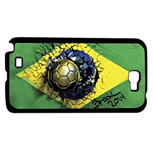 Green Yellow and Blue Brazil Soccer Flag Hard Snap on Phone Case (Note 2 II)
