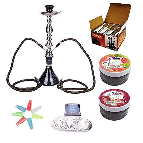 RMAN® Wasserpfeife Shisha Set 2 Schläuchen Hookah inkl.1KG Naturkohle Kokosnuss Shisha kohle, Zigarettenhalter, Shiza…