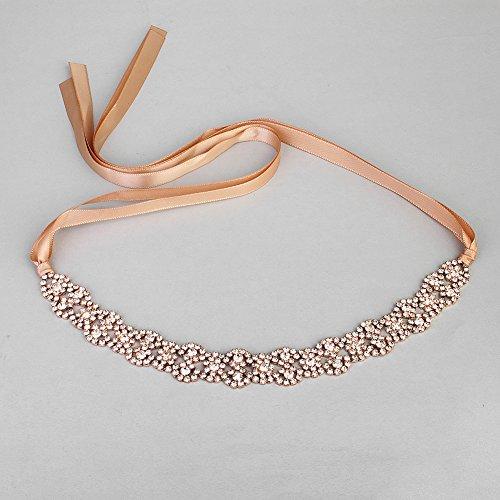 Cheap Crystal Wedding Hair Tiara with Ribbon Wedding Hair Headband (Rose Gold) free shipping