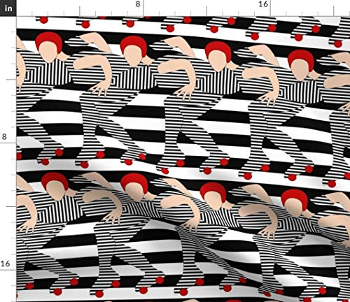 (Striped Roller Derby Fabric - Sporty Roller Derby Roller Derby Derby Skating Roller Skates Jammer Rink Race Sport by Vo Aka Virginiao Printed on Fleece Fabric by The Yard)