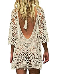 Women's Bathing Suit Cover Up Crochet Lace Bikini...