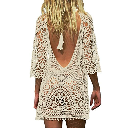 Jeasona Women Bathing Suit Cover Up Crochet Lace Bikini Swimsuit Dress Beige M
