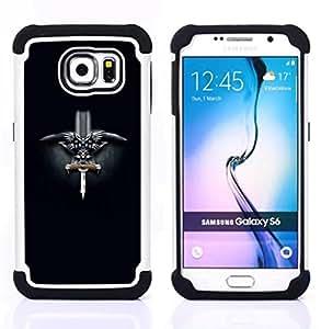 """Samsung Galaxy S6 / SM-G920 - 3 en 1 impreso colorido de Altas Prestaciones PC Funda chaqueta Negro cubierta gel silicona suave (Noruega Viking Espada"""")"""