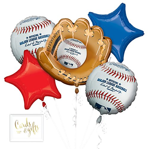 Andaz Press Balloon Bouquet Party Kit with Gold Cards & Gifts Sign, Major League Baseball Foil Mylar Balloon MLB World Series Decorations, 1-Set