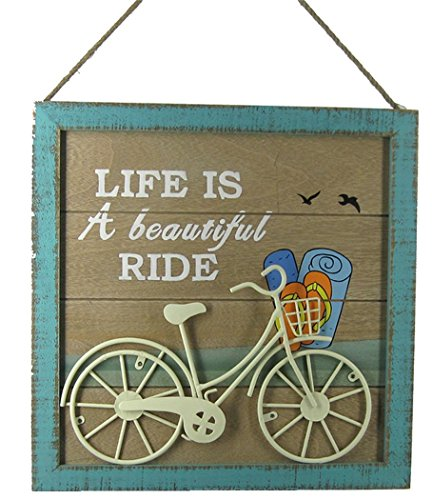 Beach Cruiser Wall Plaque with Metal Bicycle and Rope Hanger 13.6 Inches Square (Hanger Cruiser)
