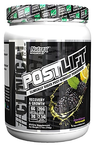 Nutrex Research Postlift | Clinically Dosed Post-Workout Powerhouse | Cluster Dextrin, Glutamine, Betaine Anhydrous, EAA's, Electrolytes | BlackBerry Lemonade ()