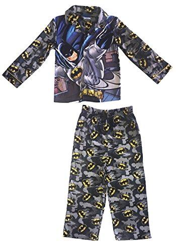 Button Up Long Sleeve Pajama Set Batman Boys Grey Camouflage (6)