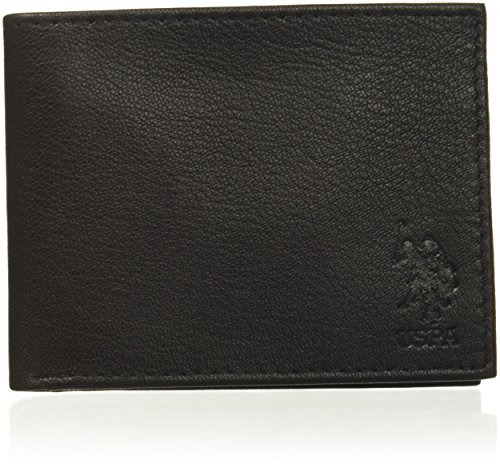 U.S. Polo Assn. Men's Genuine Goat Leather Wallet, Embossed Bifold