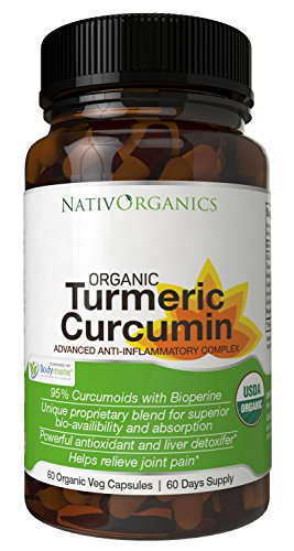 USDA Organic Turmeric Curcumin Supplement – 100% Vegan Organic Turmeric Capsules With Black Pepper Plus Ginger, Amla & Goji For Max Absorption - Highest Potency 95% Curcumoids - 60 Caps