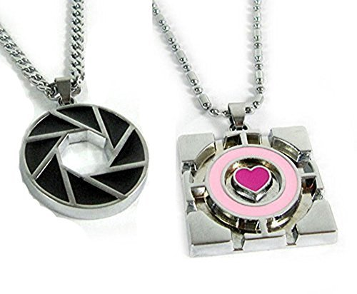 2pcs/set Portal 2 Aperture Logo & Companion Cube Pendant Necklace Cosplay -