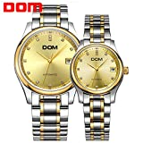 Sheli Luxury Gold Tone Auto Mechanical Couples Pair Top Brand Waterproof Stainless Steel Watches for Aniversary Birthday Gifts
