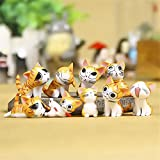 Chi Cat Toys, 9 Pcs Japanese Cute Chis Sweet Home Cats Dolls Animal Figures Collection Toy Set For Miniature Garden Decoration(Yellow)
