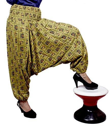 Algodón Yoga Elefante Harén Amazingindiaonline Pantalones Tamaño Libre Gypsy Beggy Amarillo Genie 6a47wpq