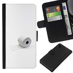 NEECELL GIFT forCITY // Billetera de cuero Caso Cubierta de protección Carcasa / Leather Wallet Case for Sony Xperia Z1 L39 // Papel Higiénico minimalista divertido