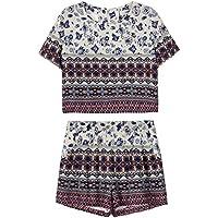 Choies de la mujer Blue Tile Print Crop parte superior con pantalones cortos DOS pieza Outfit Suit, blanco (Multi-white), L