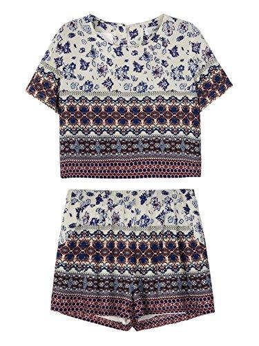 Persun Womens Print Shorts Two piece