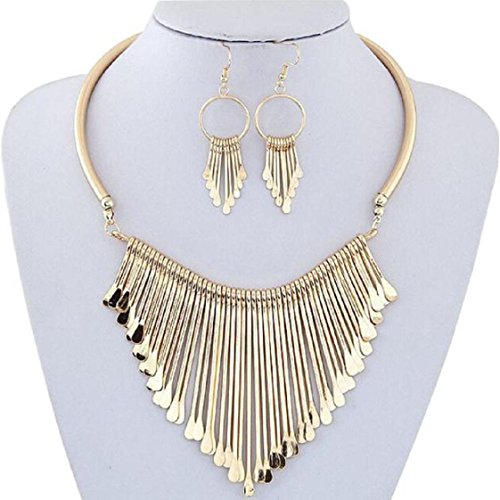 MChoice Necklace, New Luxury Womens Metal Tassels Pendant Chain Bib Necklace Earrings Jewelry Set (Gold)