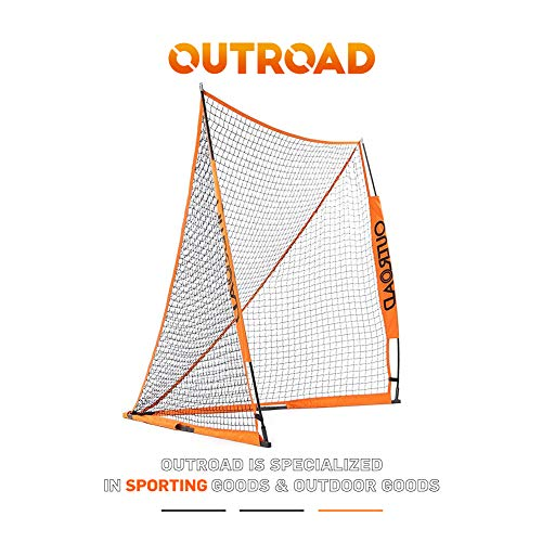 Outroad Portable 6x6 ft Official Folding Lacrosse Goal, Collapsible for Practicing Shooting Training Ice Hockey Net for Youth/Children (Orange)