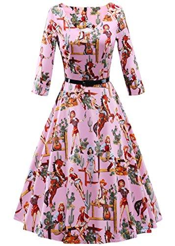 YOGLY Damen Kleid Elegant Knielang Langarm U-Ausschnitt VintageKleid  Abendkleider Brautkleid Cocktailkleid Ballkleid Minikleid Sommerkleid e7bc463d9e