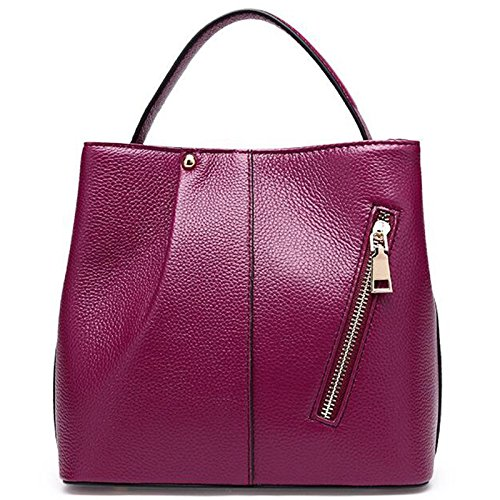 Bag Top Shoulder handle Leather Black Soft Handbags Purse Purple Women's xUwq04Fa1