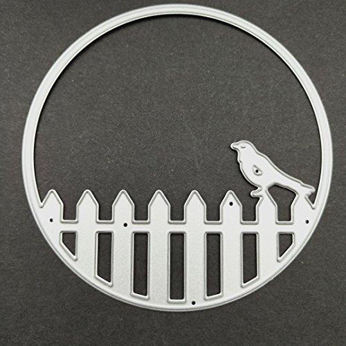 callm Bird Fence Metal Cutting Dies Embossing Card Making Die Cuts Scrapbooking Dies Stencil Metal Cut For Card Album Decoration Paper Card Making (H) by callm (Image #1)