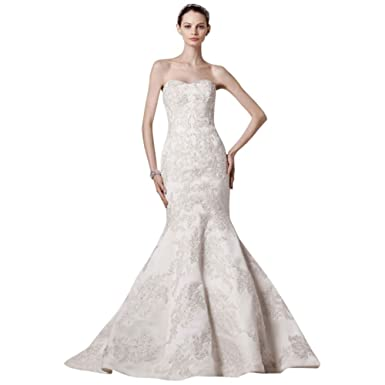 3420754336b3 David's Bridal Sample: Petite Strapless Satin Trumpet Gown with Lace Style  AI19030127, Ivory.