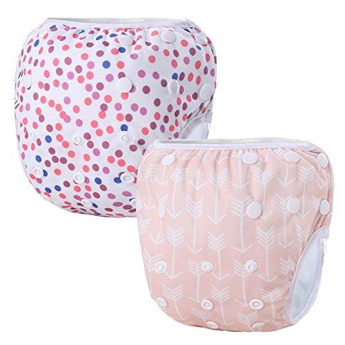 Storeofbaby 2pcs Reusable Baby Swim Diapers with Snaps Washable Adjustable Swim Pant