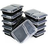 Paksh Novelty Lunch Box Sets / Large Food Container with Lid / 2 Compartment Bento Box, Microwaveable, Freezer & Dishwasher Safe, Leak Proof, 30 Ounce 10 Pack