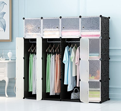 Wardrobe for Hanging Clothes, Combination Armoire, Modular Cabinet for Space Saving, Ideal Storage Organizer Cube for books, toys, towels(16-Cube) (Translucent Resin Panels)