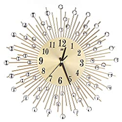 FZZ698 3D Wall Clock, Diamonds Decorative Clock, for Home Kitchen Office Diameter 38cm (Gold)
