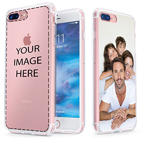 True Color Case Compatible with iPhone 7 Plus Case, Customized iPhone 8 Plus Case, Create Your Own Personalized Custom Picture HD Printed on Clear Back - Shock Absorbing Protective Bumper Cover