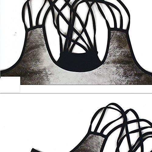 12 Camisetas Estampado Mujer Estampada En V Mangas Y Black Bazhahei Transpirable De Sin Chaleco Confort Esmalte Camis Cuello Blusa Ropa Top Vendaje Con nq4xBH